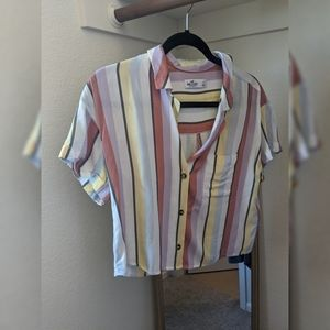 Colorful striped button up shirt